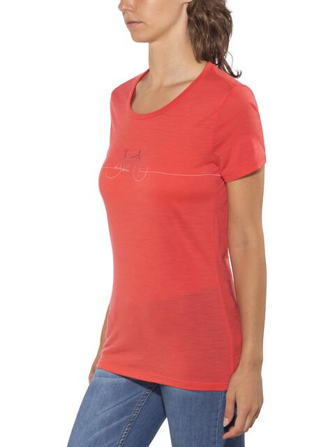 Icebreaker Tech Lite Cadence t-shirt Dames rood